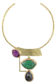 Gold Plated Green, Blue and Purple Stone Choker Necklace by Bansri