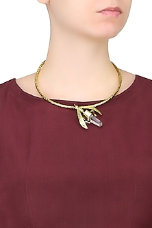 Gold Plated White Crystal Bug Choker Necklace by Bansri