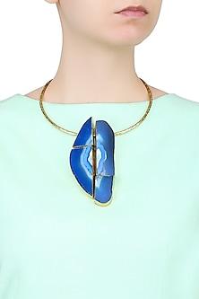 Gold Plated Blue Stone Choker Necklace by Bansri