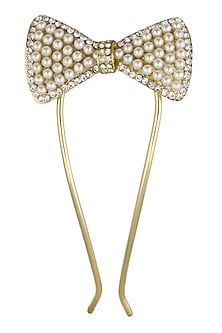 Rhodium Gold Plated Bow Shape Motif Hairpin by Bansri