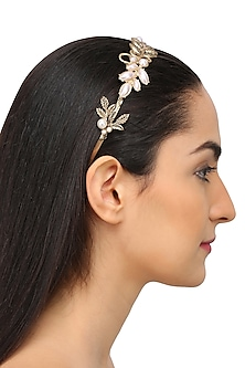 Rhodium Gold Plated Leaf Motifs Hairband by Bansri