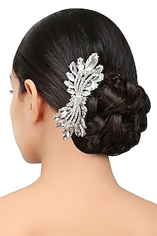 Rhodium Silver Plated Swarovski Crystals Haircomb by Bansri
