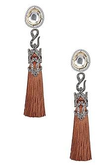 Gold Finish Brown Thread Tasseled Earrings by Bansri
