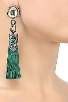 Gold Finish Emerald Thread Tasseled Earrings by Bansri