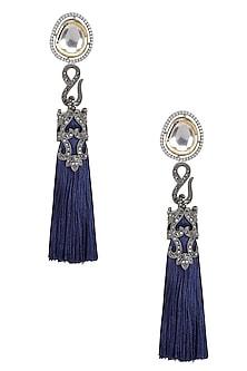 Gold Finish Blue Thread Tasseled Earrings by Bansri
