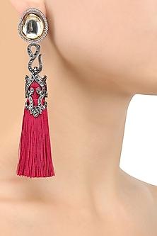 Gold Finish Ruby Thread Tasseled Earrings by Bansri