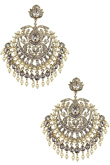 Gold Finish Crystal and Pearl Studded Chandbali Earrings by Bansri
