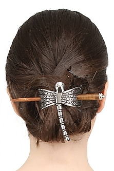 Rhodium Plated Drangonfly Hair Pin by Bansri