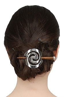 Rhodium Plated Spiral Hair Pin by Bansri