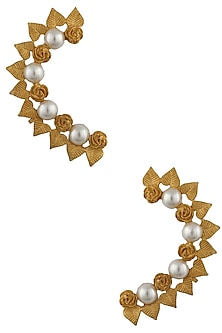 Gold Plated Pearls Leaf And Flower Earcuff by Bansri