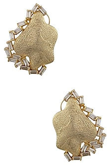 Gold Plated Crsytal Stone Earrings by Bansri