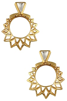 Gold Plated Crystal Stone Sunray Earrings by Bansri