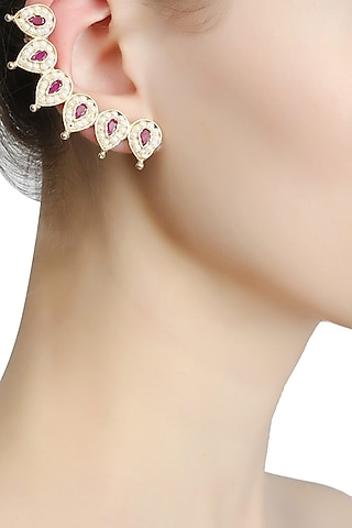 Rhodium plated teardrop pearls and red stones earcuff earrings by Bansri