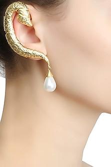Rhodium plated serpentine motif earrings by Bansri