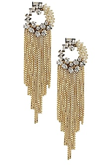 Rhodium plated baby pearls waterfall fringe earrings by Bansri