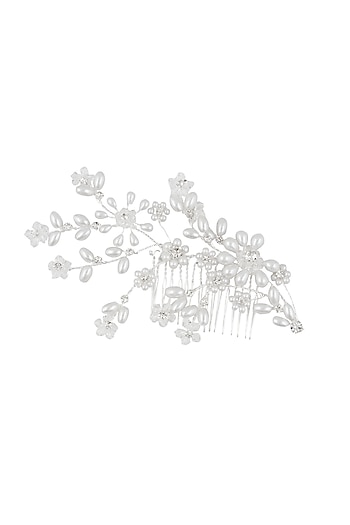 Rhodium plated pearl flower haircomb by Bansri