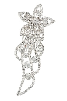 Rhodium plated crystal flower hairpin by Bansri