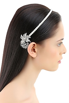 White pearl metal flower headband by Bansri