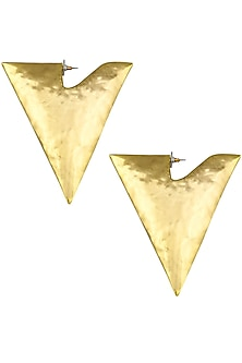 Gold plated triangle shape oversized earrings by Bansri