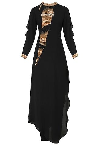 Black Hand Embroidered Band Collar Tunic and Pants Set by Nitin Bal Chauhan