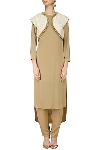 Beige Tunic and Pants with Pearl Embroidered Bollero by Nitin Bal Chauhan