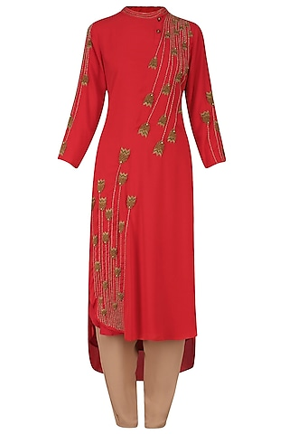 Red Thread and Bead Embroidered Tunic and Pants Set by Nitin Bal Chauhan