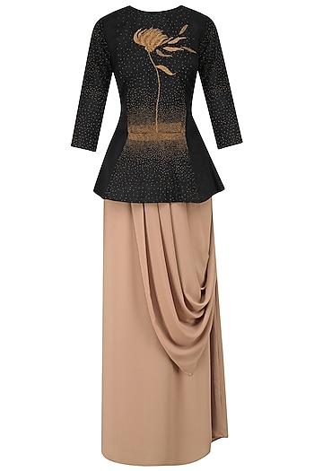 Black Hand Embroidered Peplum Top and Drape Skirt Set by Nitin Bal Chauhan