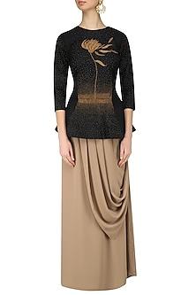 Black Hand Embroidered Peplum Top and Drape Skirt Set by Nitin Bal Chauhan