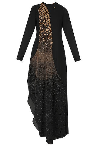 Black Hand Embroidered Beadwork Asymmetric Tunic by Nitin Bal Chauhan