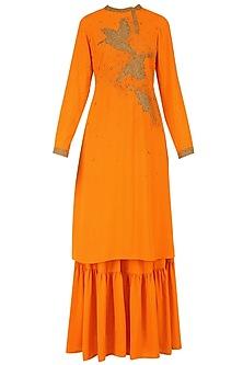 Orange Beadwork Tunic and Sharara Pants Set by Nitin Bal Chauhan