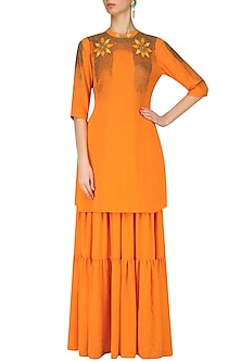 Orange Applique Work Tunic and Sharara Pants Set by Nitin Bal Chauhan
