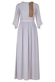 Powder Grey Zardozi Work Full Length Dress by Nitin Bal Chauhan