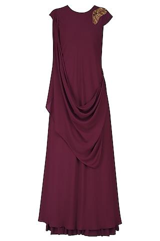 Maroon Zardozi Work Full Length Dress by Nitin Bal Chauhan