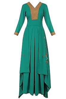 Green Beadwork Tunic and Palazzo Pants Set by Nitin Bal Chauhan