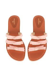 Pink Handcrafted Flat Sliders by Bombay Brown