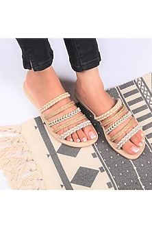 Beige Braided Flat Sliders by Bombay Brown