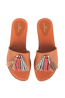 Tan Flat Sliders With Tassels by Bombay Brown