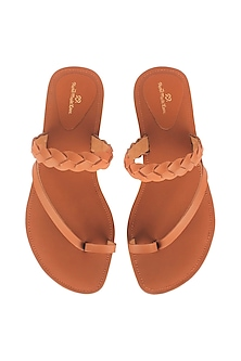 Tan Flat Sliders With Braided Stripes by Bombay Brown