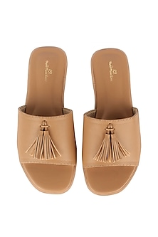 Beige Leather Flat Sliders by Bombay Brown