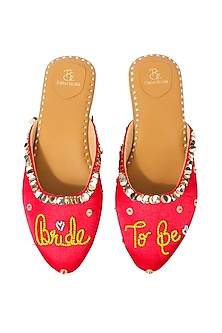 Pink Glitter Embroidered Mules by Bombay Brown