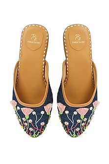 Denim Blue Flora Embroidered Mules by Bombay Brown