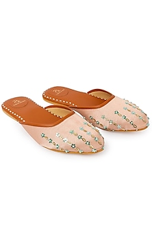 Biba Pink Glitter Embroidered Mules by Bombay Brown