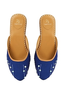 Blue Glitter Embroidered Mules by Bombay Brown