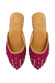 Magenta Glitter Embroidered Mules by Bombay Brown