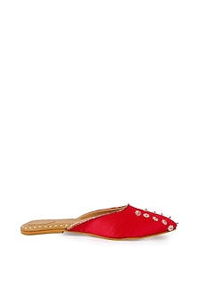 Red Glitter Embroidered Mules by Bombay Brown