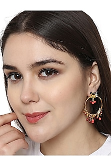 Gold Plated Hand Painted Earrings by Brashbug