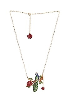 Gold Plated Hand Painted Necklace by Brashbug