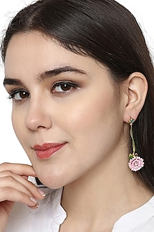 Gold Plated Hand Painted Long Earrings by Brashbug