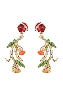 Gold Plated Hand Painted Floral Earrings by Brashbug