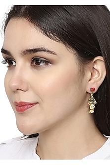 Gold Plated Hand Painted Dangler Earrings by Brashbug
